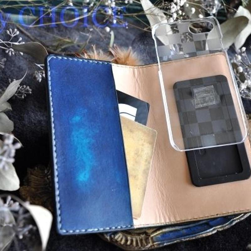 EUヌメ革・手染めスマホケースiPhone6・6s・7(ブルー)