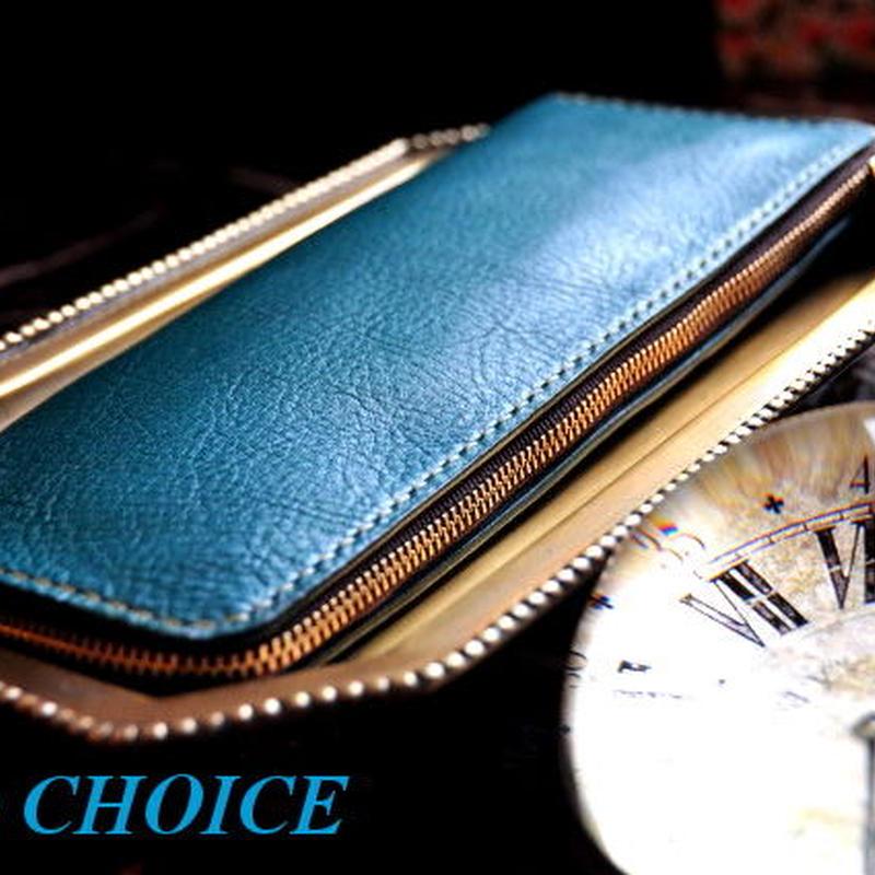 イタリアンオイルレザーアリゾナ・L型長財布(ターコイズ)