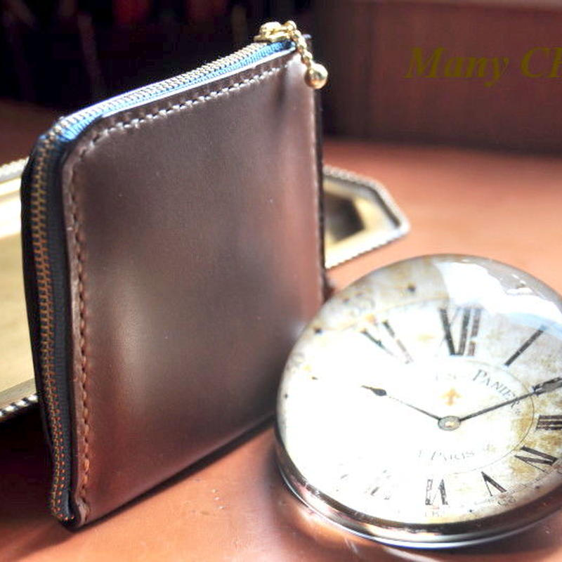スムースプルアップレザー・L型財布(マホガニー)
