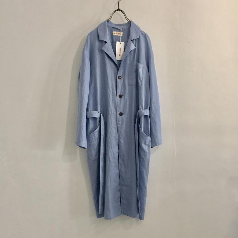 french linen work coat  / sky-blue