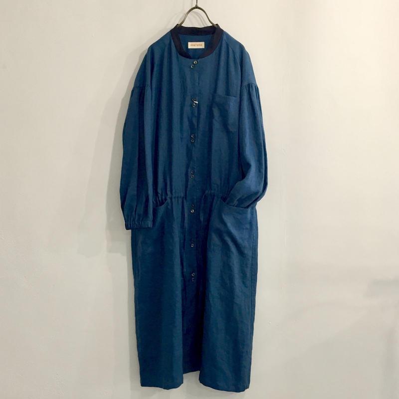 wide gather dress / deep blue