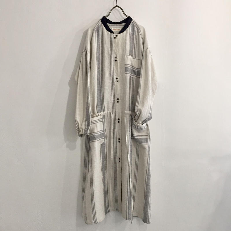 wide gather dress / white stripe