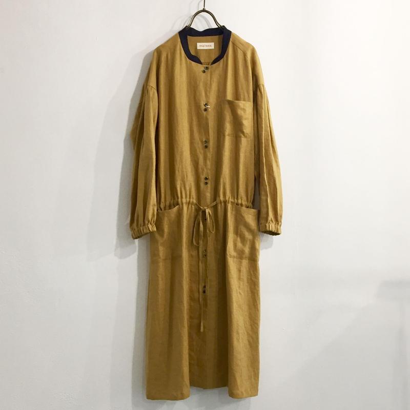 wide gather dress / mustard