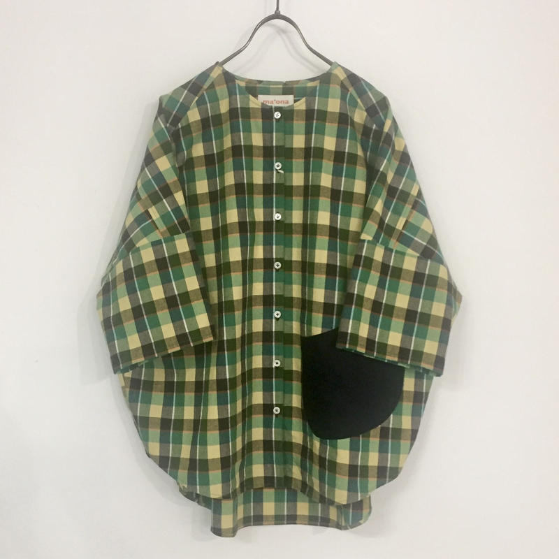over-sized pocketing blouse / green check