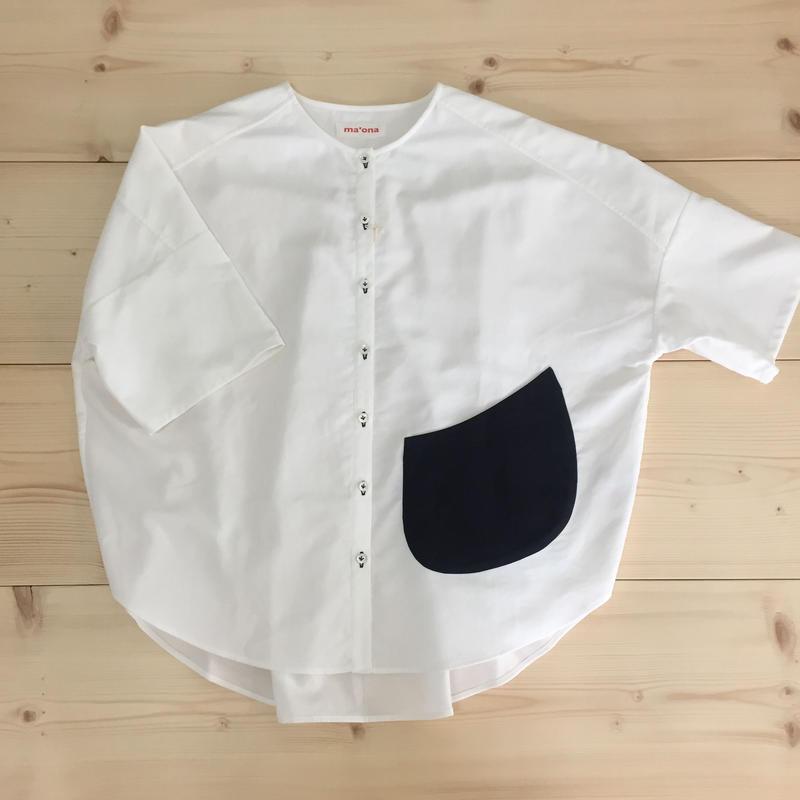 over-sized pocketing blouse / white cotton