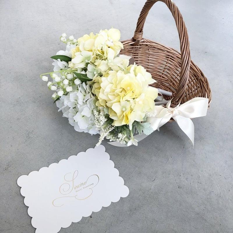 フルールバスケット Lemon(バスケット入りお花のペン5本)