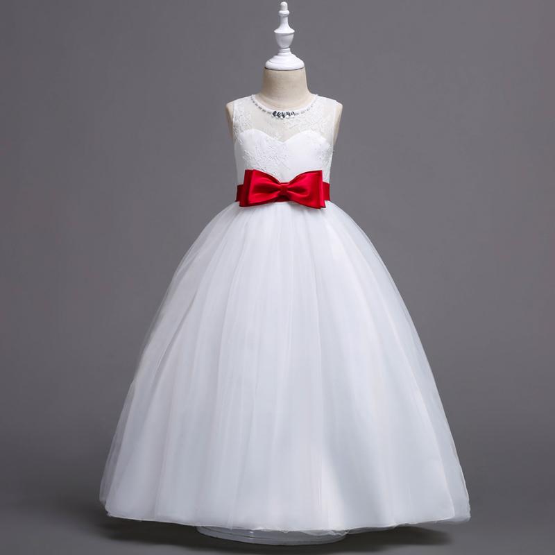 (即納)♡ホワイト♡レッドリボン♡キッズ♡ドレス♡女の子♡結婚式♡発表会♡120-150size♡(041)