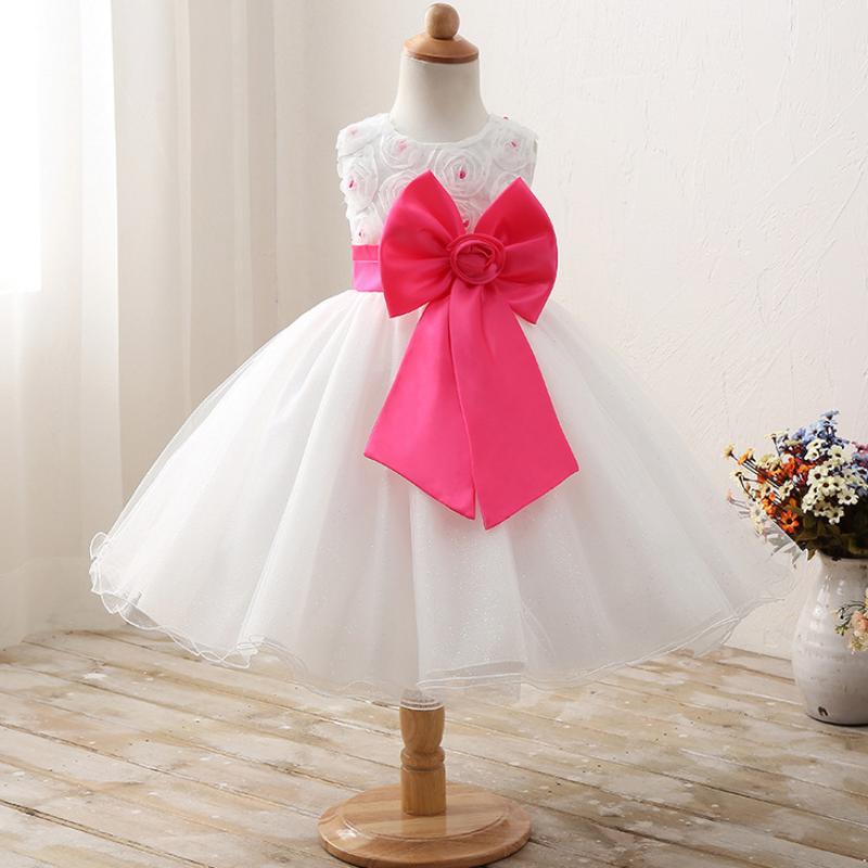 ♡ホワイト♡ピンクリボン♡キッズ♡ドレス♡女の子♡結婚式♡発表会♡100-150size♡(038)