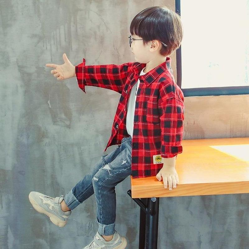 ♡ワイシャツ♡チェック♡男の子♡100-150size♡(074)