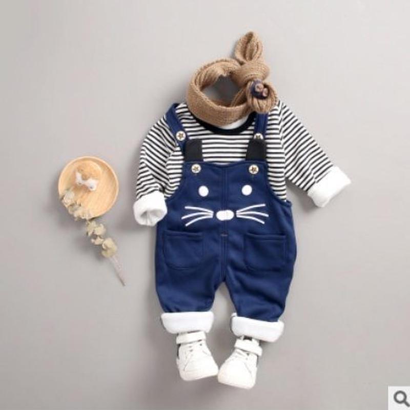 (即納あり)♡2点セット♡キッズ♡つなぎ♡セットアップ♡ネイビー♡ネコ♡80-110size♡(029)