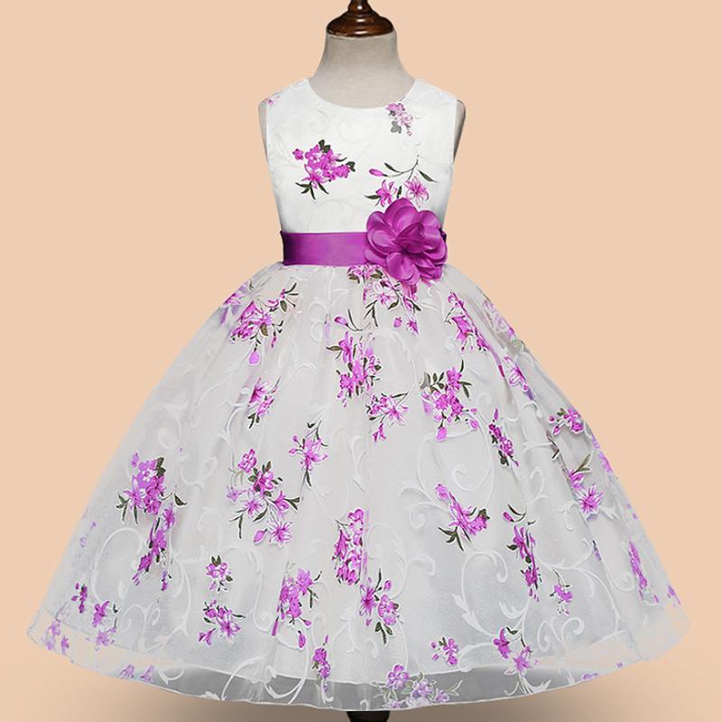 (即納)♡フラワー♡パープル♡キッズ♡ドレス♡女の子♡結婚式♡発表会♡120/140size♡(036)