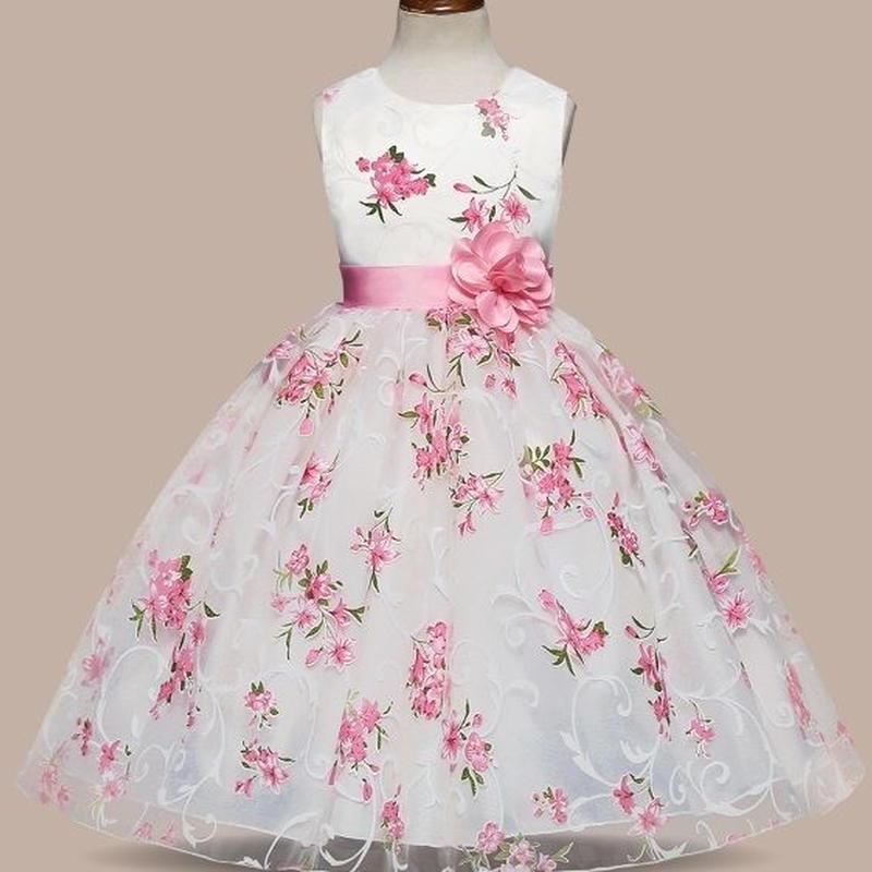 ♡フラワー♡ピンク♡キッズ♡ドレス♡女の子♡結婚式♡発表会♡110/130/150size♡(037)