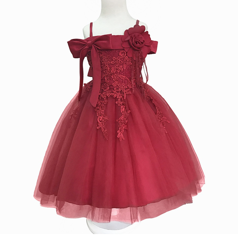 ♡レッド♡キッズ♡ドレス♡女の子♡結婚式♡発表会♡110-150size♡(042)