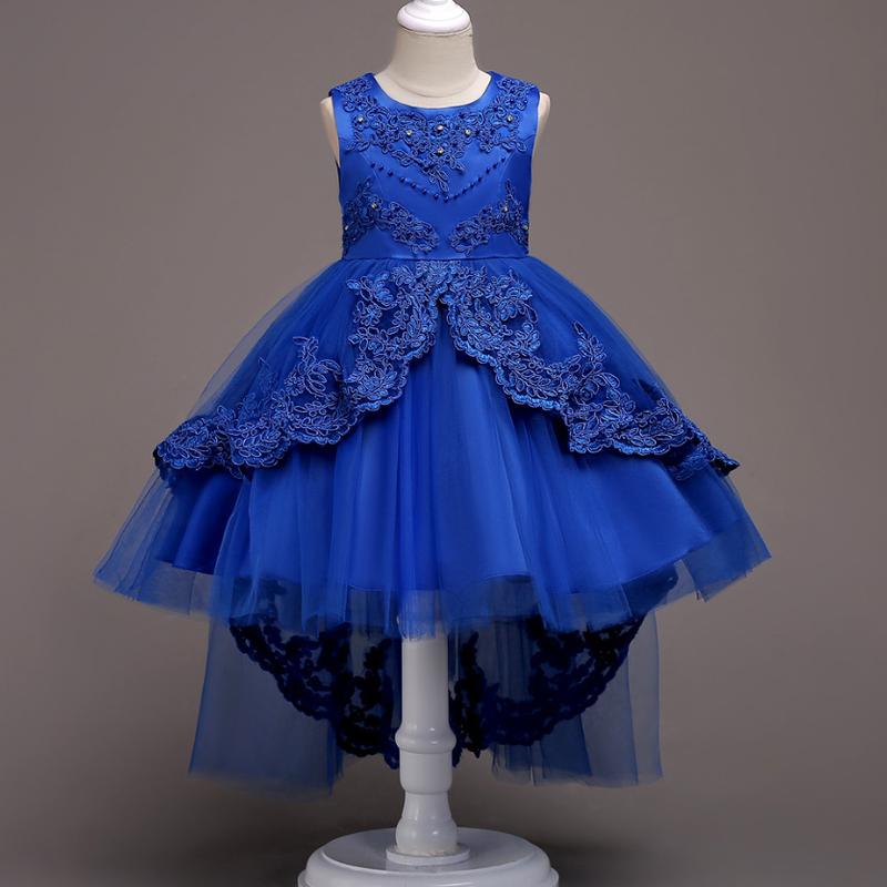 (即納)♡ブルー♡レース♡キッズ♡ドレス♡女の子♡結婚式♡発表会♡110-150size♡(040)