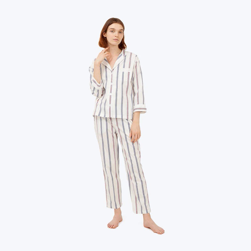 SLEEPY JONES // Marina Pajama Set Navy Regimental Stripe