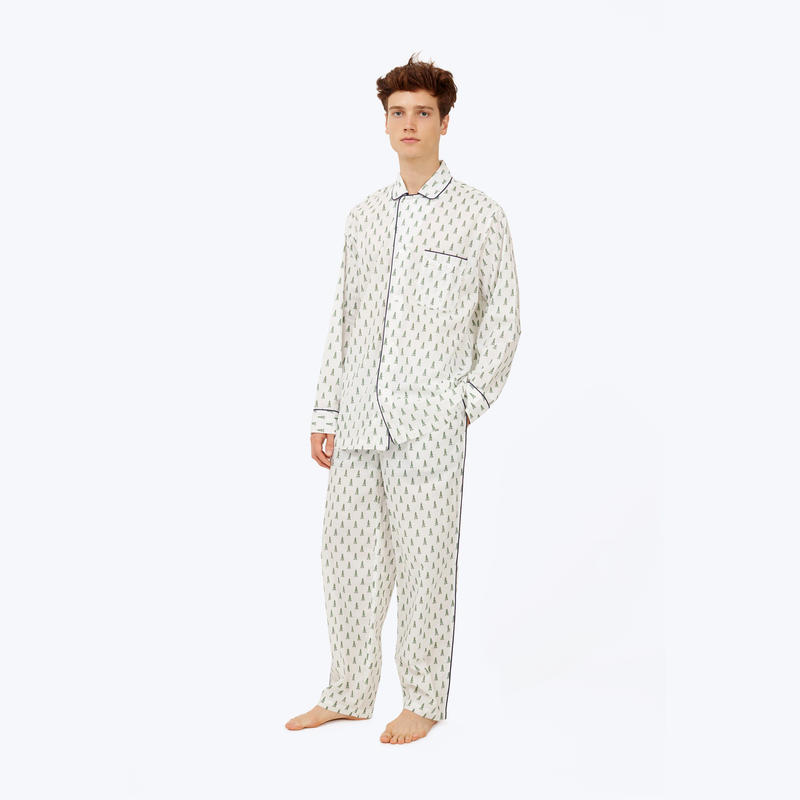 SLEEPY JONES // DLF Lowell Pajama Set White&Green Trees