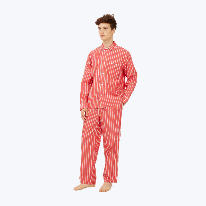 SLEEPY JONES // Lowell Pajama Set Red & White Tie Stripe