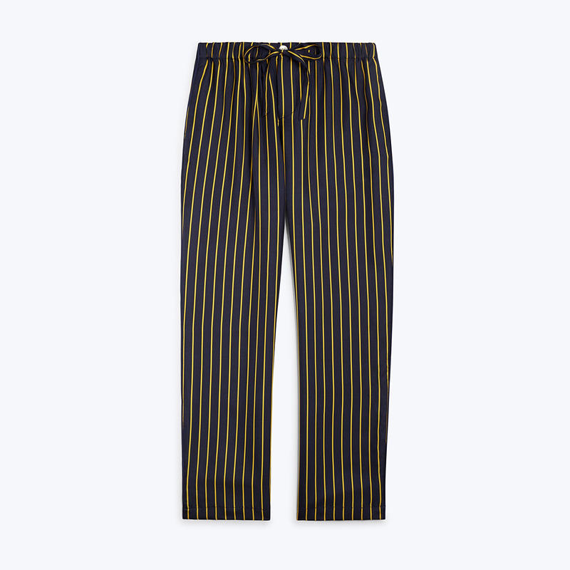 SLEEPY JONES // Silk Marina Pajama Pant Tie Stripe Navy&Gold
