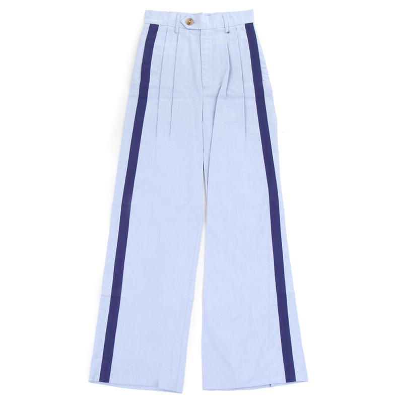 Pleated wide leg pant with grosgrain ribbon trim