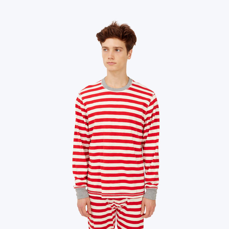 SLEEPY JONES // Keith Long Sleeve Shirt Red Slub Stripe