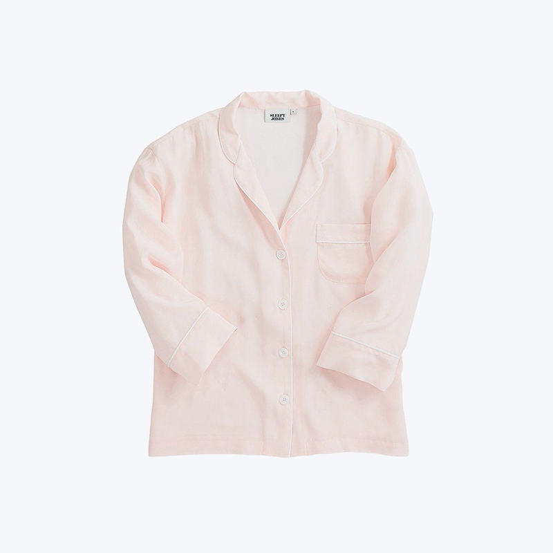 SLEEPY JONES // Silk Marina Pajama Shirt Pale Pink