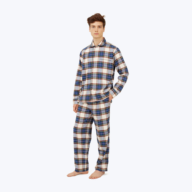 SLEEPY JONES // Lowell Pajama Set Cream Flannel Plaid