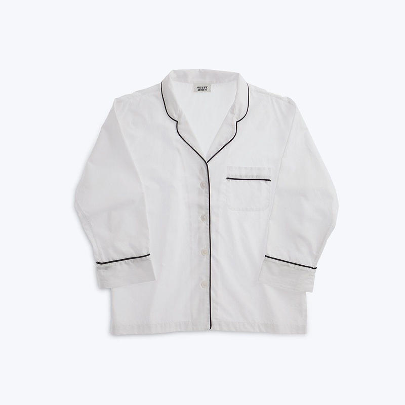 SLEEPY JONES // Marina Pajama Shirt White End on End