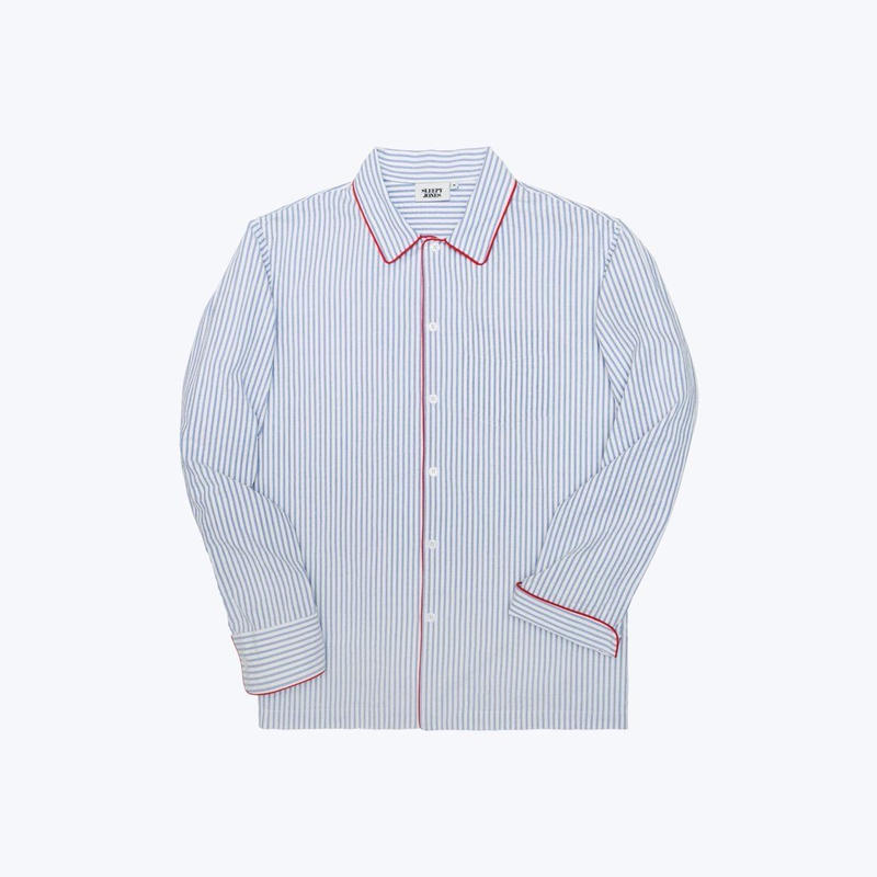 SLEEPY JONES // Henry Pajama Shirt Seersucker Stripe Blue