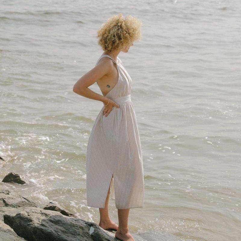 KORDAL // ARIANNE DRESS CREAM STRIPE