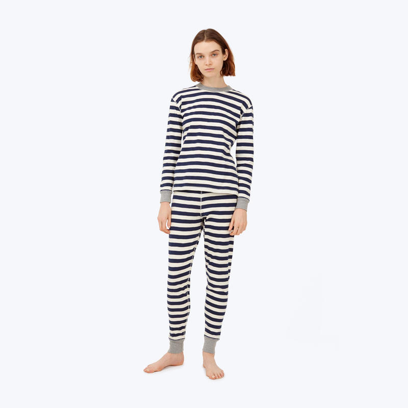 SLEEPY JONES // Helen Long Sleeve Shirt Navy Slub Stripe