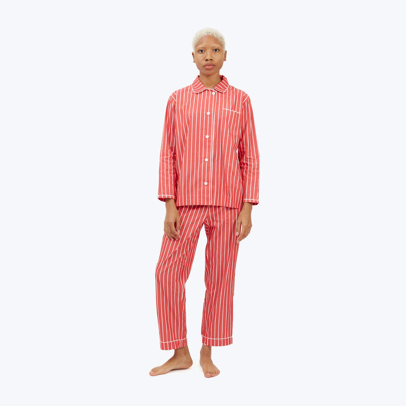 SLEEPY JONES // Bishop Pajama Set Red & White Tie Stripe