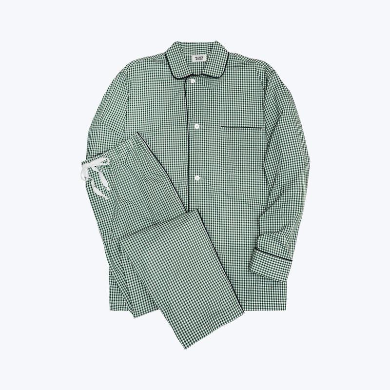 SLEEPY JONES // Lowell Pajama Set Small Gingham Green