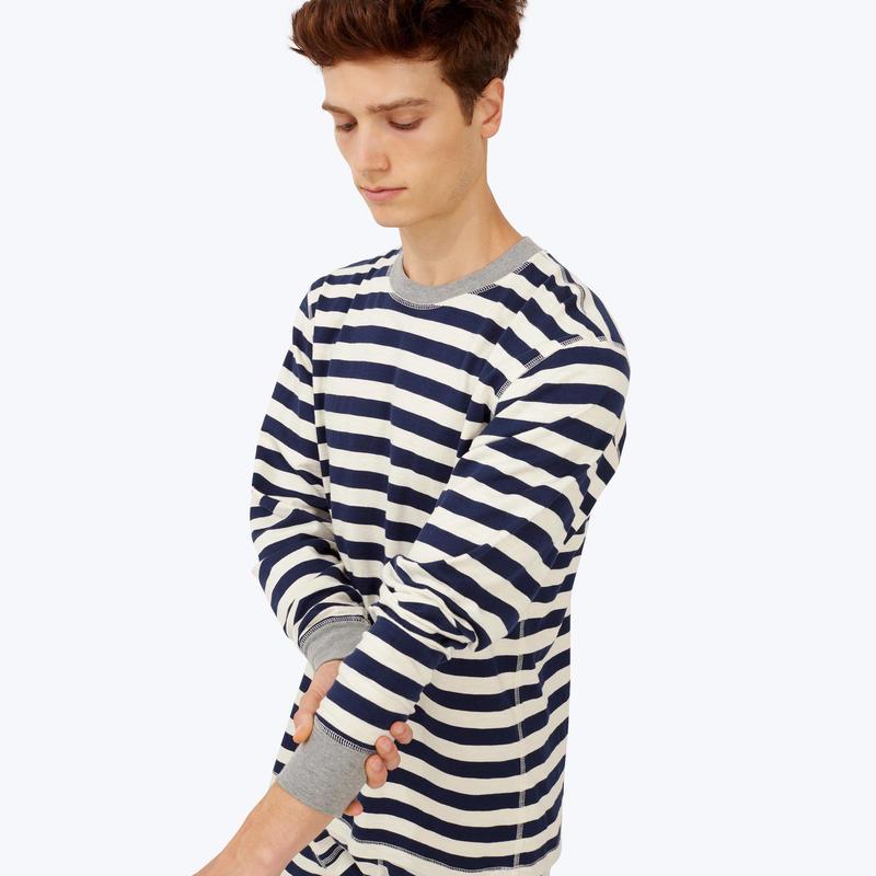 SLEEPY JONES // Keith Long Sleeve Shirt Navy Slub Stripe