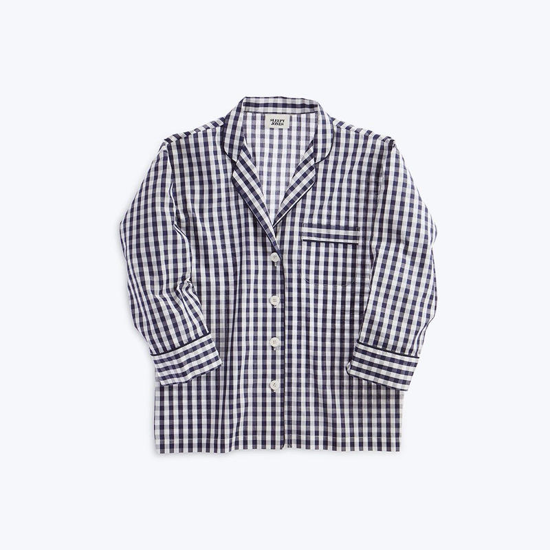SLEEPY JONES // Marina Pajama Shirt Large Gingham Navy