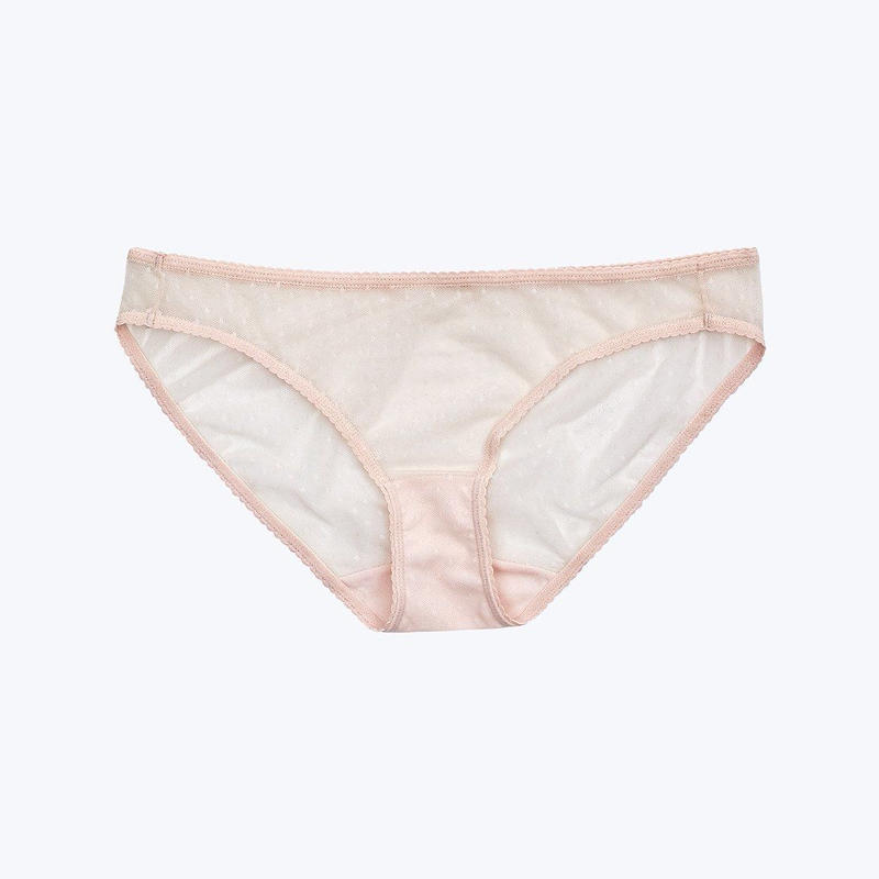 SLEEPY JONES // Goldin Bikini Swiss Dot Mesh Pale Pink