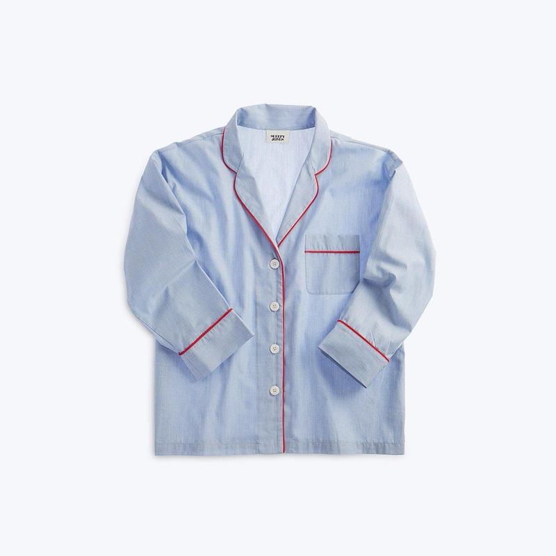 SLEEPY JONES // Marina Pajama Shirt End on End Blue
