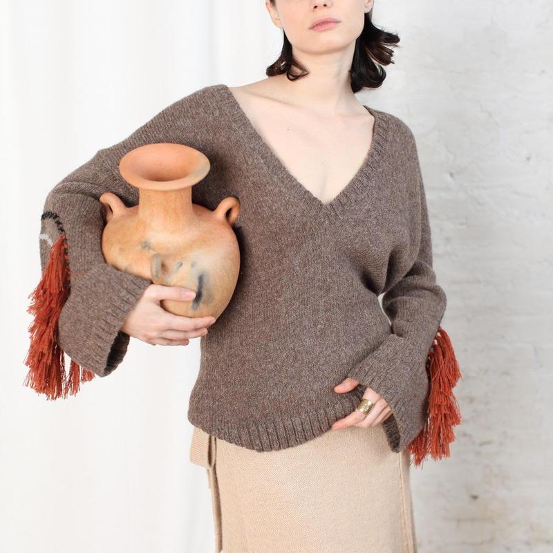 KORDAL // Circle Fringe Sweater