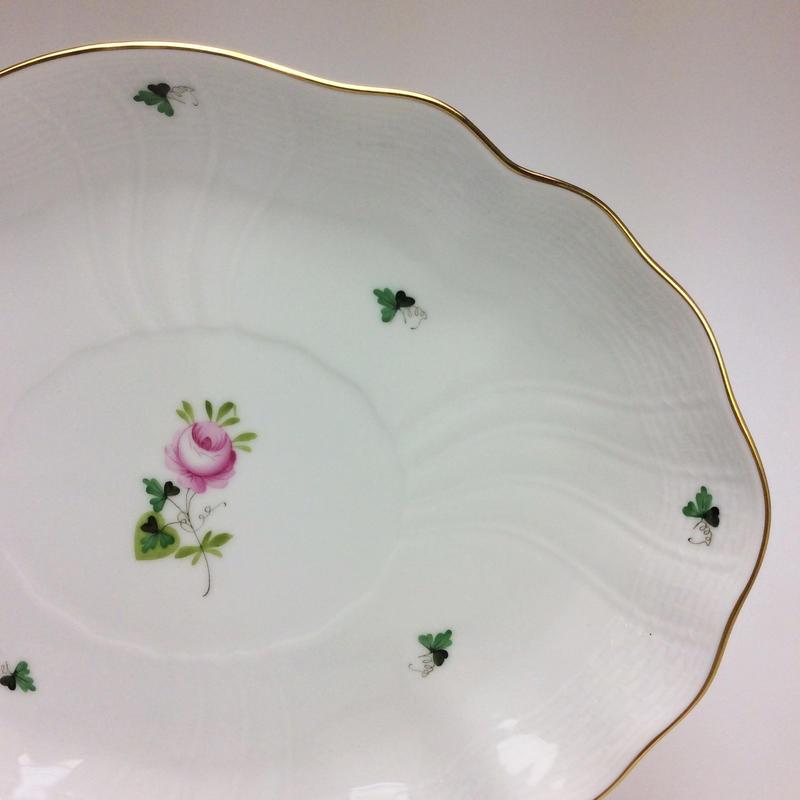 【16周年誕生祭】ヘレンド  ウィーンのバラ  シンプル オーバルディッシュ26cmプレート  1211