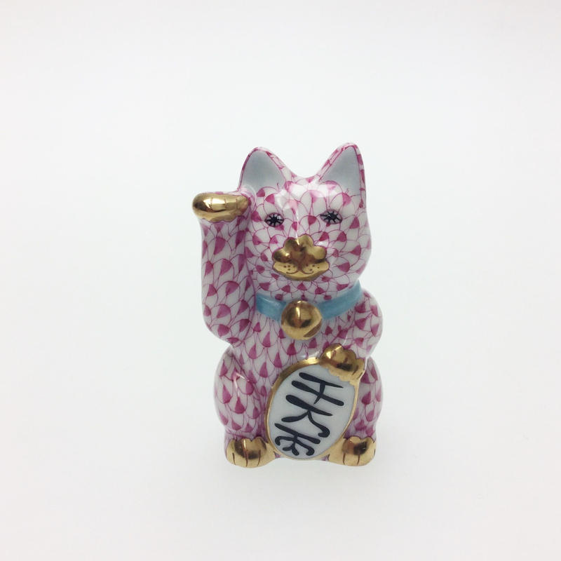 【ヘレンド】人形 VHP 招き猫千万両(小)ピンク 15579