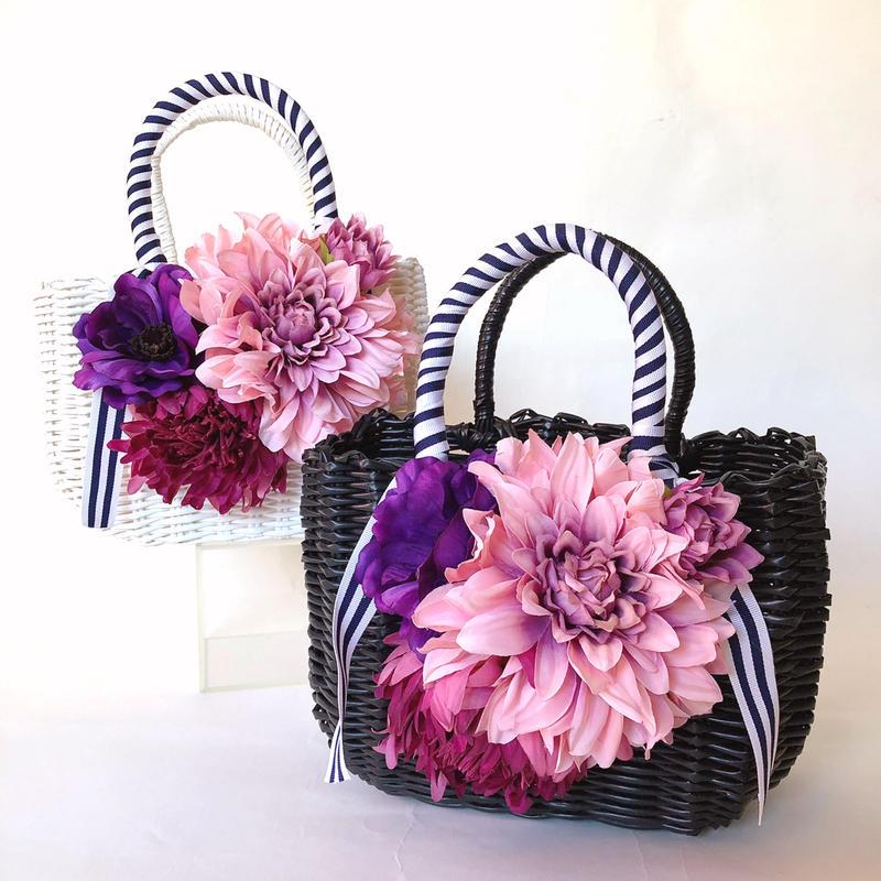Flower Bag Black or White  M      ~Pink Dahlia〜