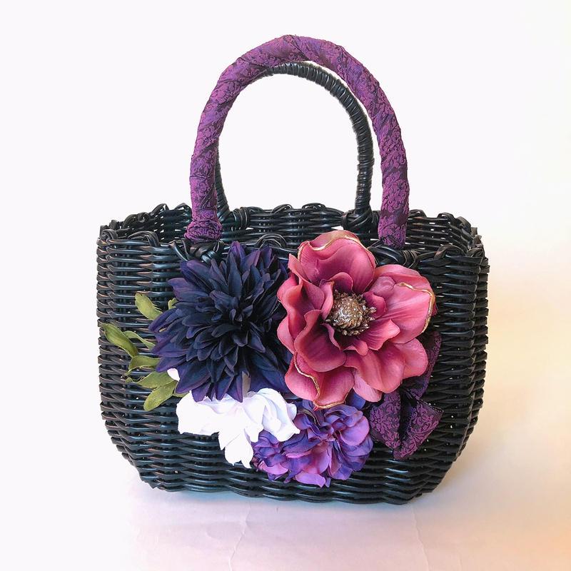 Flower Bag Black M     【 Purple Dahlia ×Anemone】