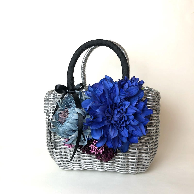 Flower Bag Silver M      ~Blue Dahlia〜