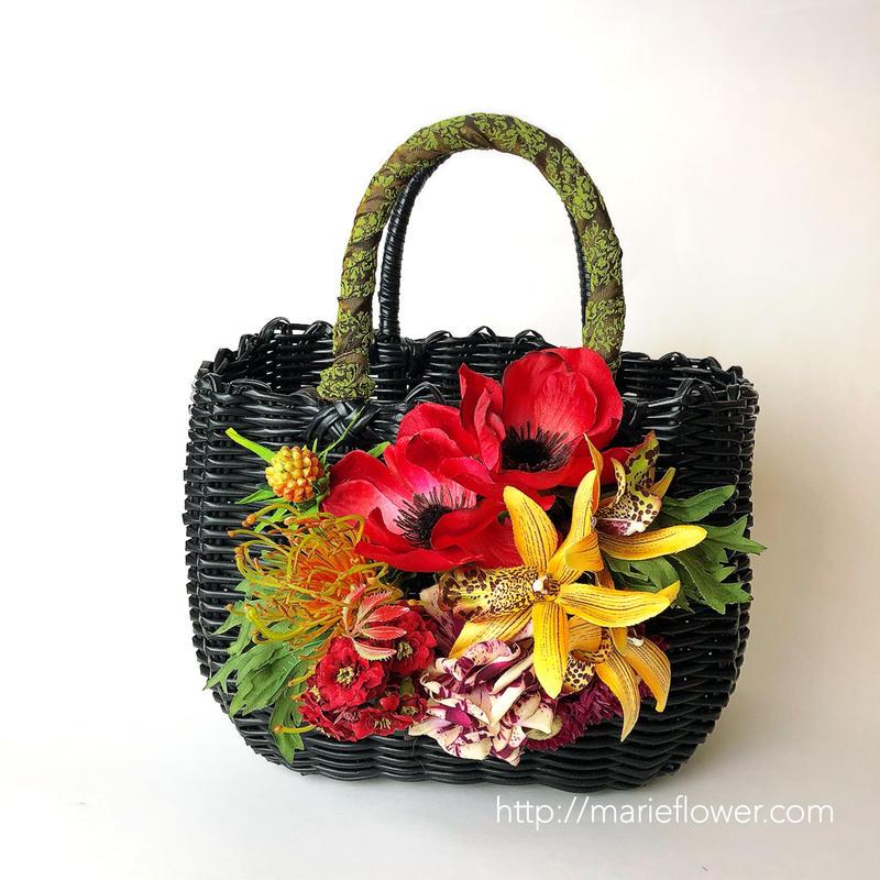 Flower Bag Black / White M     【RED Anemone 】