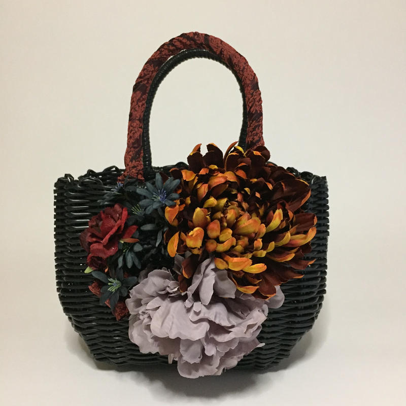 Flower Bag Black M   【月光の菊】