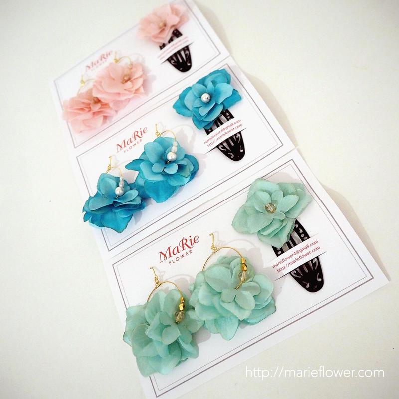 紫陽花 accessory set [ピアス(イヤリング)×ヘアピン]