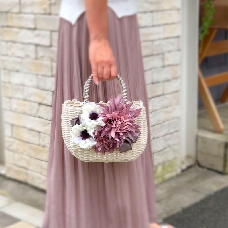 Flower Bag White M    【lilac】