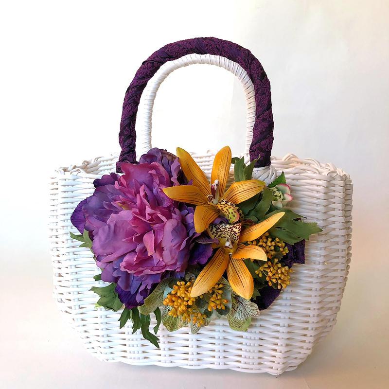Flower Bag White M    【purple 】
