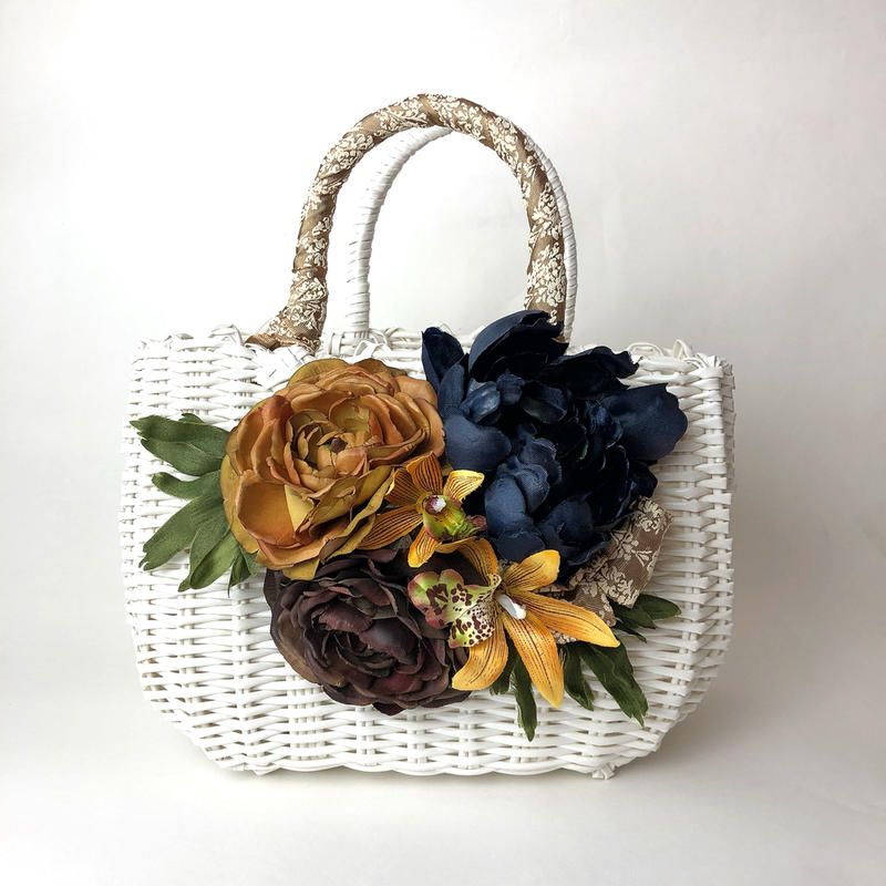 Flower Bag White M     【Navy 】