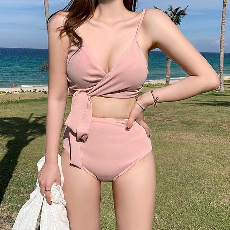 ピンク/黒★胸元リボン ハイウエストビキニ ワイヤー無し水着 パッドポケット有り■miz960