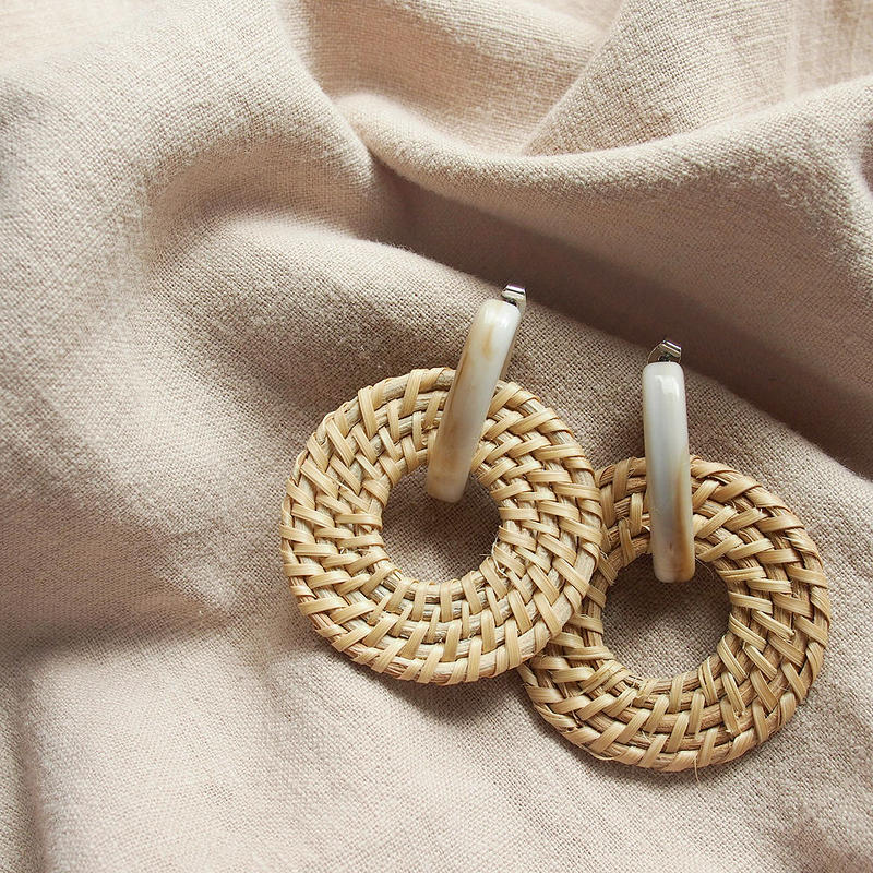 [ NEW ]Rattan Circle Hoop Pierce